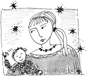 mama with beads