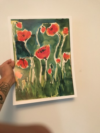 Garden Poppies Poster, Dark