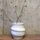 "Organic Flower Vase, Pebble with Turquoise blush. 5"" high. Timberline Stoneware, $32"